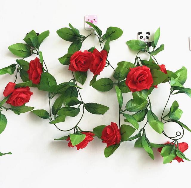 1 pc/pack coloré artificiel faux fleurs Rose rotin vigne soie suspendus fleur pour mariage à la maison décoratif fleuriste florale