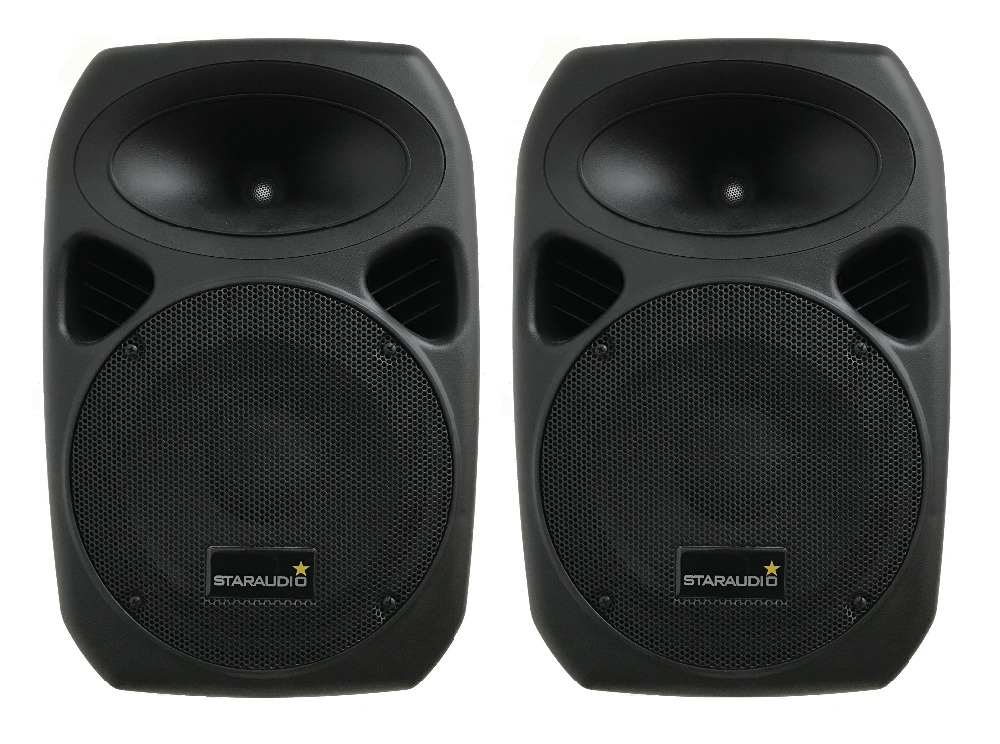 STARAUDIO 2Pcs Pro 10 1500W DJ PA Stage Party Speakers With 2 Speaker Stands 1 Powered Mixer 2 Cables W/Wireless Mics SSD-10A