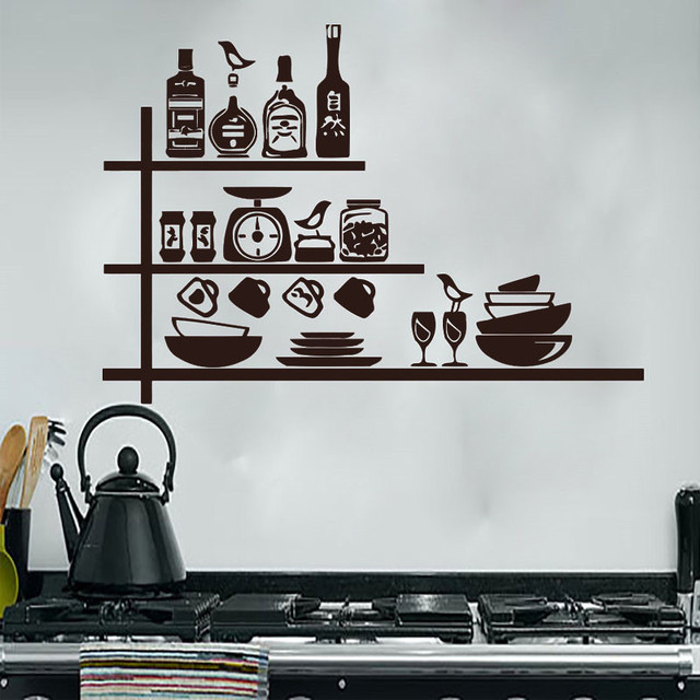 Creative Crockery Spices Shelves Wall Sticker Kitchen Wall Decor ...