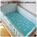 ¡ Promoción! 6 UNIDS ropa de Cama de Bebé Bordado Impresión ropa de Cama Cuna Set (tope + hoja + funda de almohada)