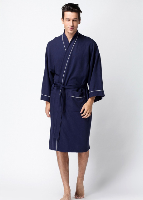 Новый 2016 мужчины хлопок вафельные халаты Мужчины ванная комната спа-отелях халат мужской плюс размер пижамы Традиционный Юката Пижамы 102701