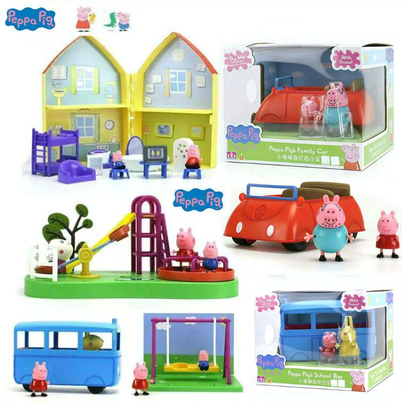 2019 Genuine Peppa Pig George PLAYHOUSE Model Doll Family House Slide Swing Red Bus Car Playset Action Figure Kid Toys Original