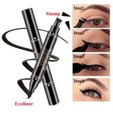 Double-Headed Black Eyeliner Waterproof Quick Dry Triangle Seal Eye Liner Pencil 2-in-1 Liquid Wing Pen for Eyes Beauty