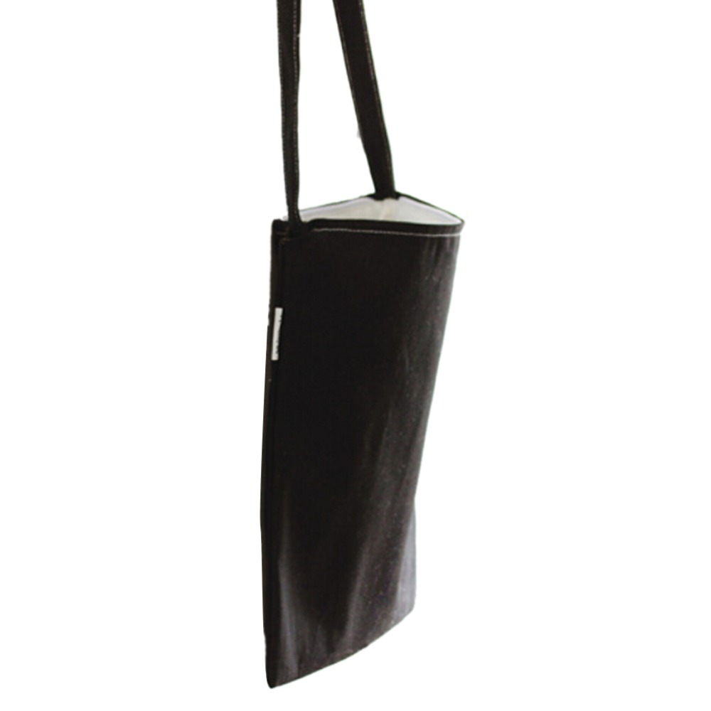1Pc Black Canvas Shopping Tote Reusable Simple Design Shoulder Carrying Bag Vintage Style Cloth Bag Eco Reusable Bag