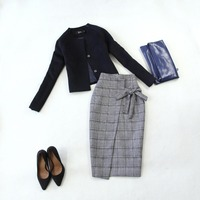 black with grey blazer women suit jackets two piece skirt suit two piece office lady skirt suits Tuxedo outfit
