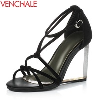 VENCHALE woman fashion sandals patent and matte genuine leather high heels wedges good quality summer shoes black party shoes
