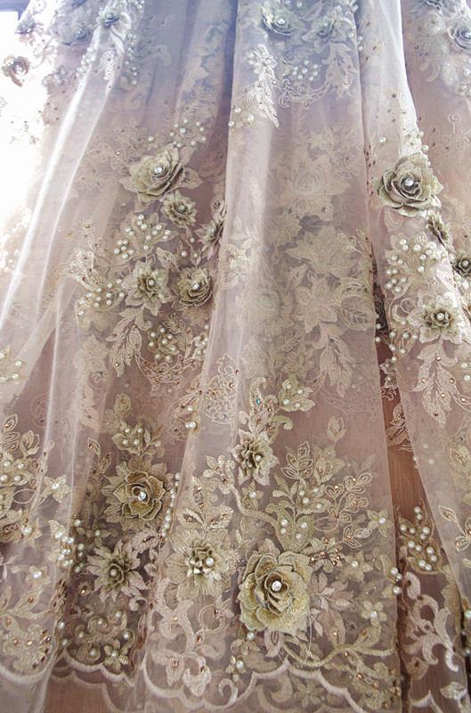 2.5 yards gold beaded lace fabric, heavy beading lace