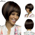 Sexy Ladies Auburn Brown Ombre Wig Afro Hair Styles Wig Bob Synthetic Wigs Short Straight Hair Perruque Synthetic Women Peruca