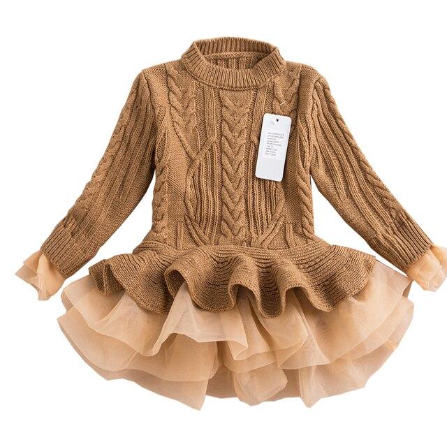 d1b0944f Moda Otoño 2019 gruesas niñas vestidos de princesa tejidos invierno fiesta  niños suéter tutú vestido niña