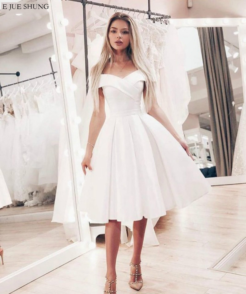 Wedding Dress White Vs Off White: E JUE SHUNG White Satin Off The Shoulder Short Wedding