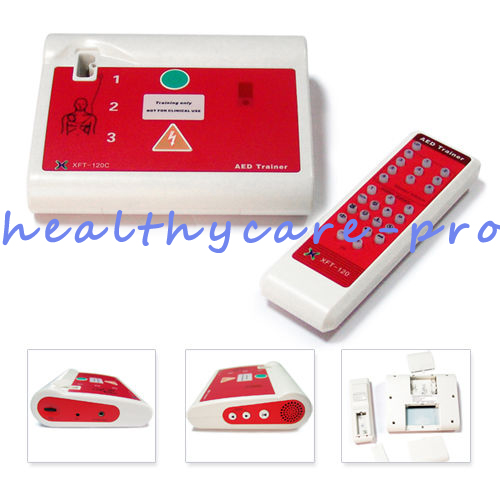 New AED Monitor For The Heart AED Trainer/Simulation With Replacement Electrode Pads In English N American Accent Portuguese free shipping 20 pairs pack adult aed training machine electrode pads replacement sticky aed patch first aid training