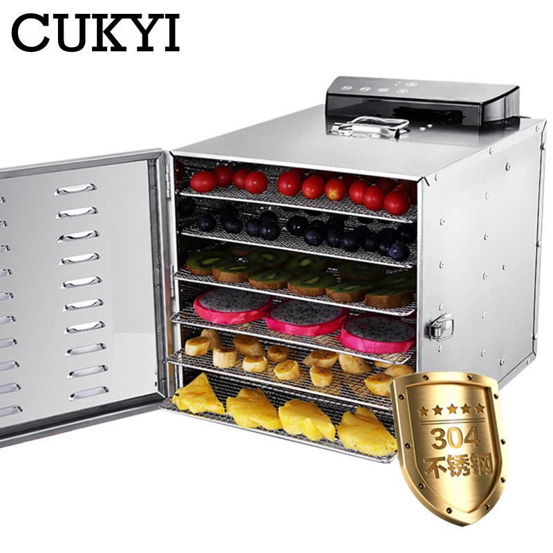 CUKYI 6 Trays Stainless Steel Food Dehydrator Snacks Dehydration Dryer Fruit Vegetable Herb Meat Drying Machine 110V 220V EU US