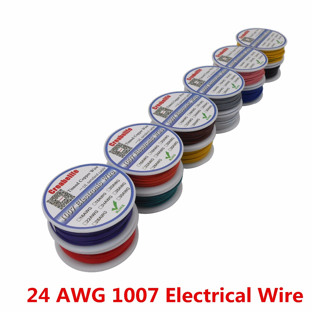 10m UL 1007 24AWG 12 Colors Electrical Wire Cable Line Tinned Copper PCB Wire RoHS UL Certification Insulated LED Cable
