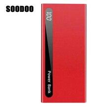 SOODOO 30000 мАч Внешний аккумулятор быстрая зарядка тонкий ультратонкий светодиодный цифровой дисплей портативное зарядное устройство двойной Usb для Xiaomi IPhone huawei