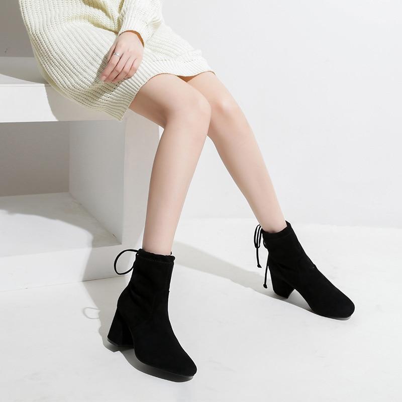 Cordones Nuevo Cuadrado Mujer De Tacones Elástica Caliente Bota Martin Talones Botines Del Chelsea Negro Bandada Altos Pie Volver Chunky Botas Zapatos Dedo ZgYwA0aqR