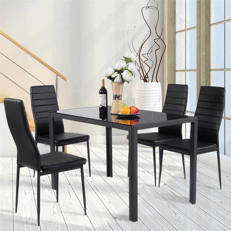 US $236.24 45% OFF|5 Pieces Metal Frame and Glass Tabletop Dining Set Glass  Dining Table and PVC leather Chairs Dining Room Furniture HW52382+-in ...