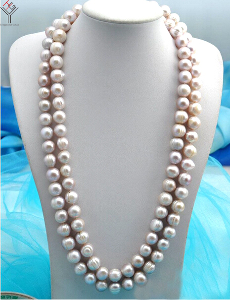 Women Jewelry 10mm pearl 63'' 160cm long necklace light purple baroque pearl handmade real natural freshwater pearl gift [daimi] multi color baroque pearl necklace 160cm long sweater chain natural pearl long necklace beach style