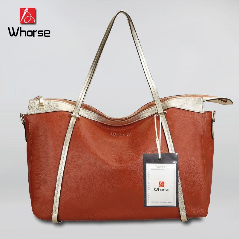 ФОТО [WHORSE] Brand Logo Hot High Quality Large Women Shoulder Bags Real Genuine Leather Hobo Messenger Lady Handbags Bag WA50405