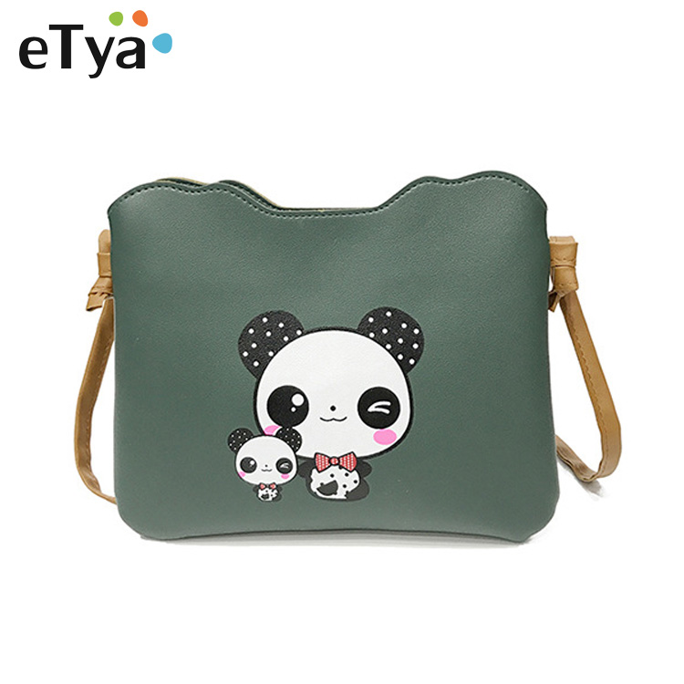 Fashion Panda printing Mini Shoulder Bags Women Messenger bag Clutch Handbag Purses PU Leather Vintage Ladies Envelope Bag vintage fashion letter book shape pu purse daily clutch bag ladies shoulder bag chain handbag crossbody mini messenger bag