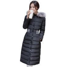 2016 winter new women cotton jacket long section down cotton coats thick warm cotton jacket hooded fur collar Parka Plus Size