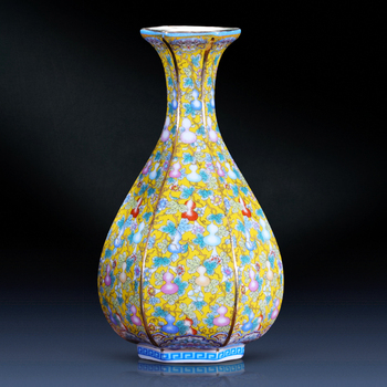 Jingdezhen Ceramic Vase Imitating Yongzheng Enamel Antique Retro Arrangements New Chinese Home Living Room Decorations