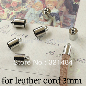 FREE SHIP 1000pc Dull silver plated/Rhodium plated crimp tips cord end caps for leather cord 3mm