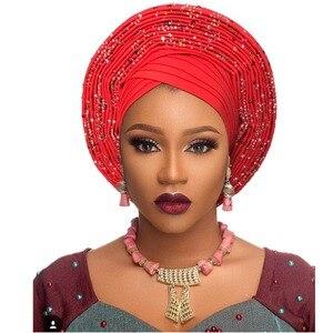 Image 2 - Geleneksel afrika başkanı sarar afrika şapka headtie kadın nijeryalı gele türban bandı zaten yapılmış aso oke gele headtie