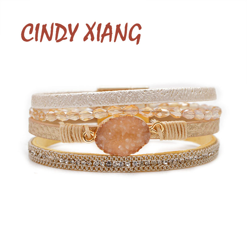 CINDY XIANG Crytsal Rope Natural Stone Cuff Bracelets For Women Leather Bangles Fashion Summer Jewelry Skin Color High Qaulity