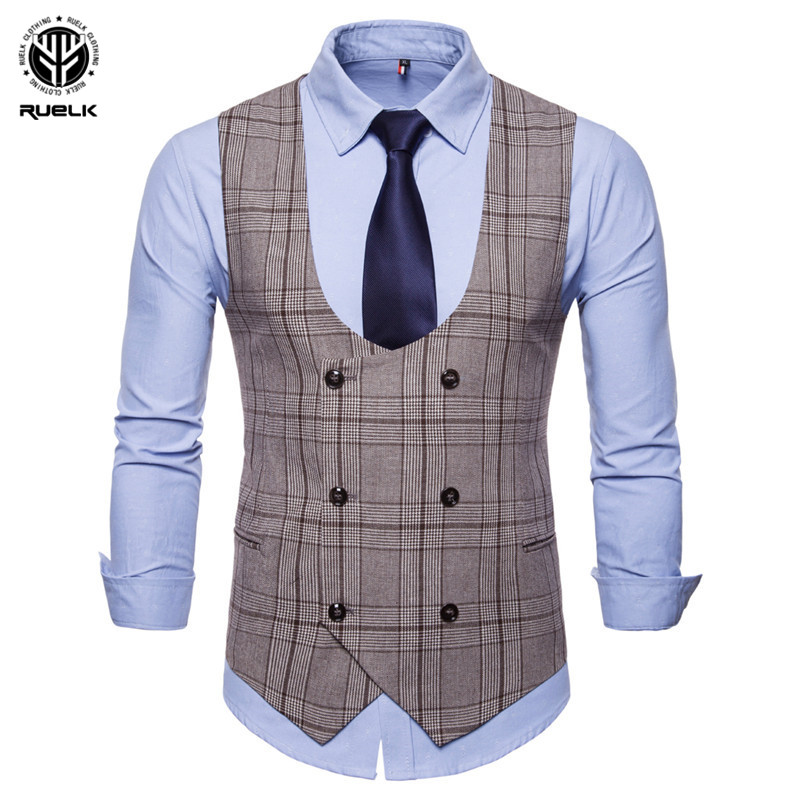 RUELK 2018 New Brand Men's Business Casual Vest High Quality Men's Clothing Men's Casual Plaid High Quality Double Breasted Vest