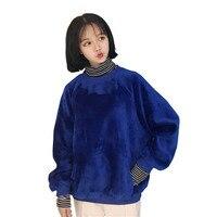 Jesień Zima Polar Bluzy Patchwork Paski Velet Wysoka Neck bluzy bluzy z kapturem Bluzy 2017 Nowy Koreański Ciepłe Kurtki Moletom