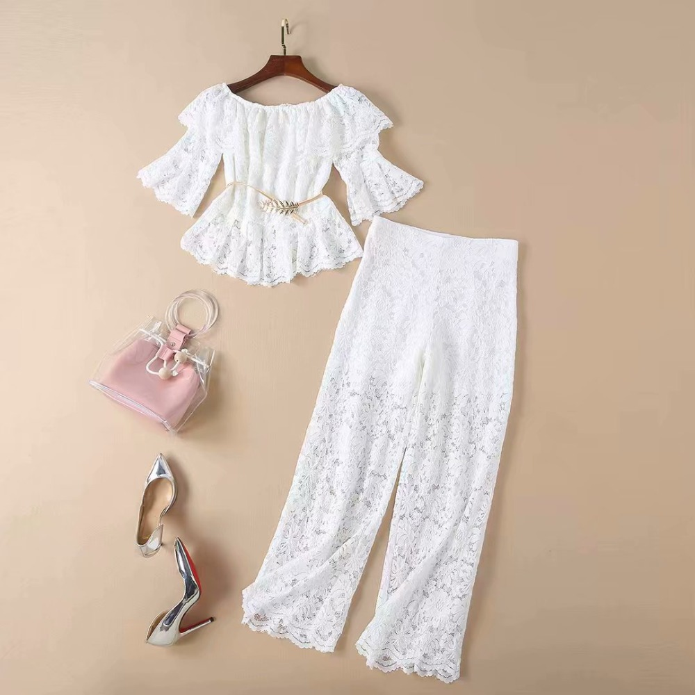 European and American women's dress 2019 spring new style T-shirt with flared sleeves and turtleneck trousers Bud silk suit