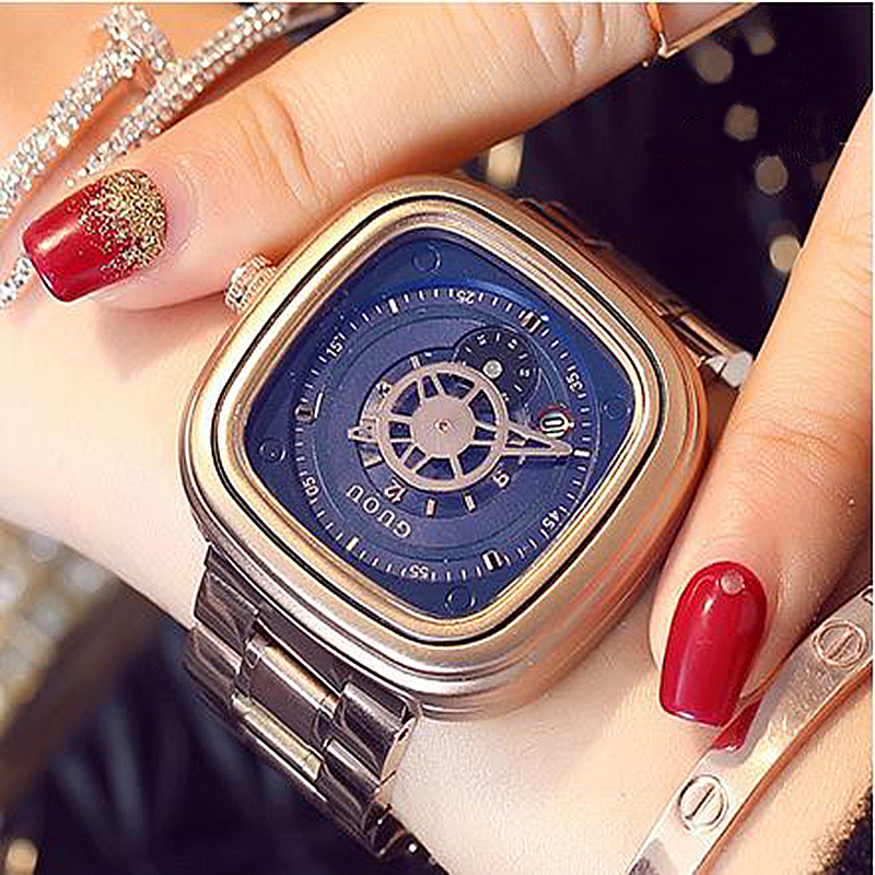 GUOU Women's Wrist Watch Women Waterproof Roae Gold Stainless Steel Ladies Watches Calendar Sport Clock reloj mujer