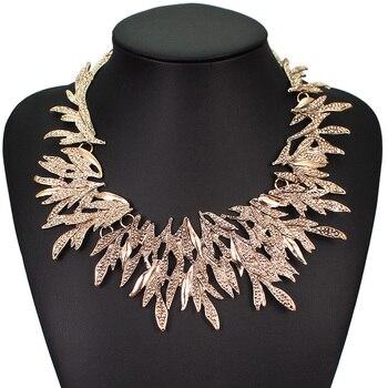 9e72f0edc14b MANILAI collares de moda para las mujeres Retro hoja geométrica gargantilla Vintage  Collar babero declaración Collar hojas de joyería