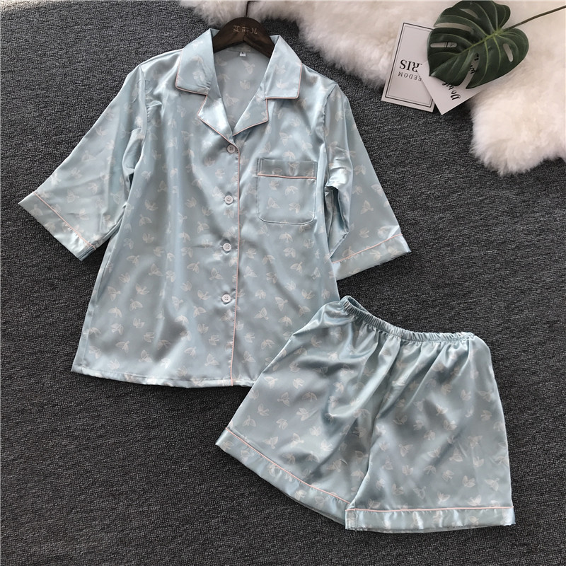 2018 New Pattern Printing Short Sleeve Shorts Pajamas Suit Woman Korean Concise Easy Home Furnishing Serve Silk Pajama Set girl pajamas winter thickening increase down korean new pattern lovely cartoon child children home furnishing suit 2 pieces kids