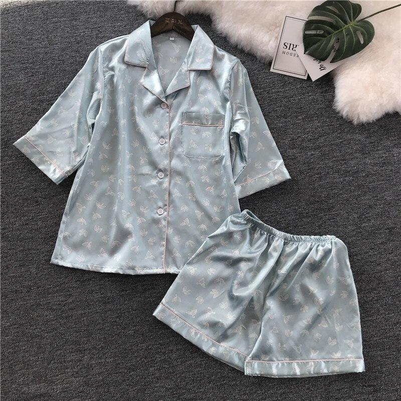 2018 New Pattern Printing Short Sleeve Shorts Pajamas Suit Woman Korean Concise Easy Home Furnishing Serve Silk Pajama Set
