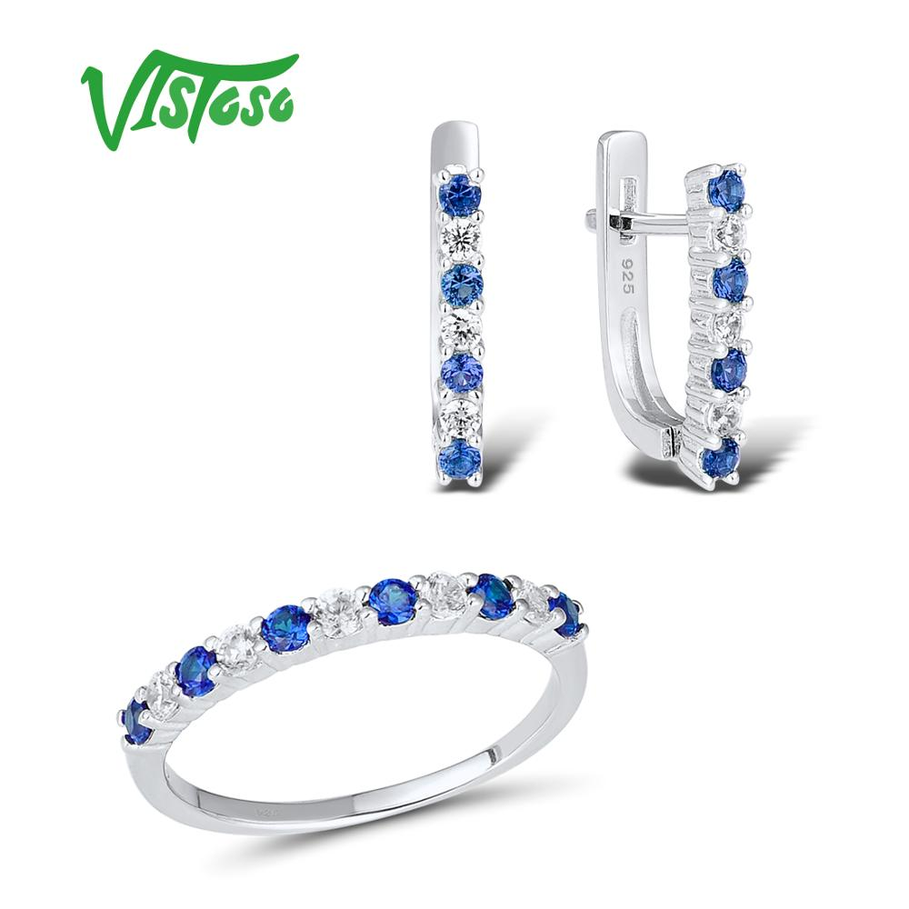 VISTOSO Jewelry Sets For Woman Blue Spinels White CZ Stones Jewelry Set Earrings Ring 925 Sterling Silver Fashion Fine Jewelry VISTOSO Jewelry Sets For Woman Blue Spinels White CZ Stones Jewelry Set Earrings Ring 925 Sterling Silver Fashion Fine Jewelry