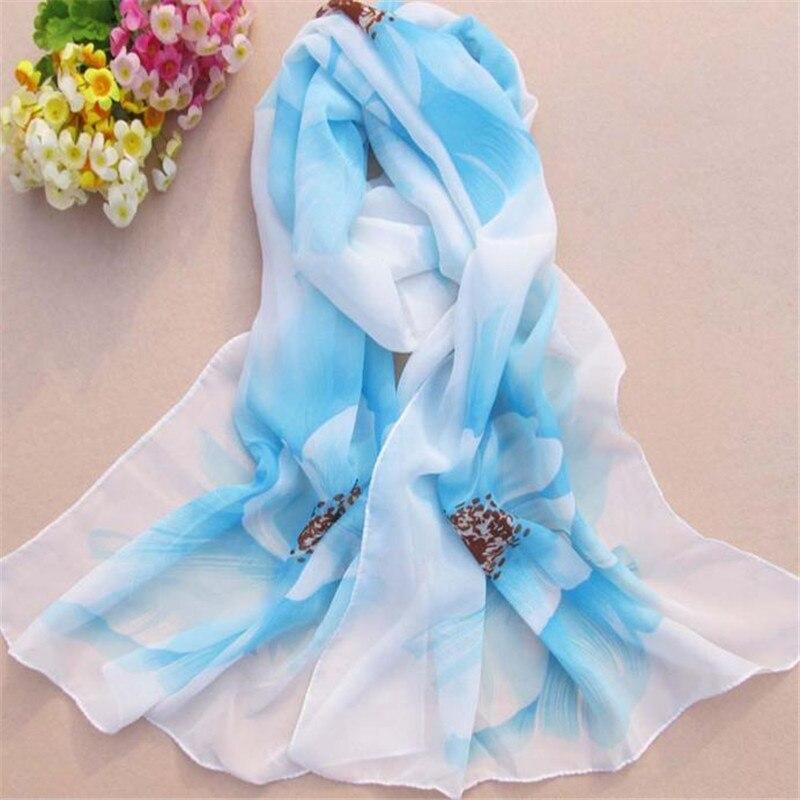 snowshine YLW Women Soft Thin Chiffon Silk Scarf Flower printed Scarves Wrap Shawl