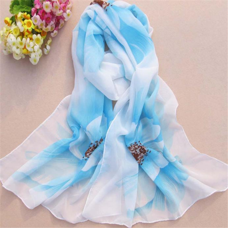 snowshine YLW Women Soft Thin Chiffon Silk   Scarf   Flower printed   Scarves     Wrap   Shawl