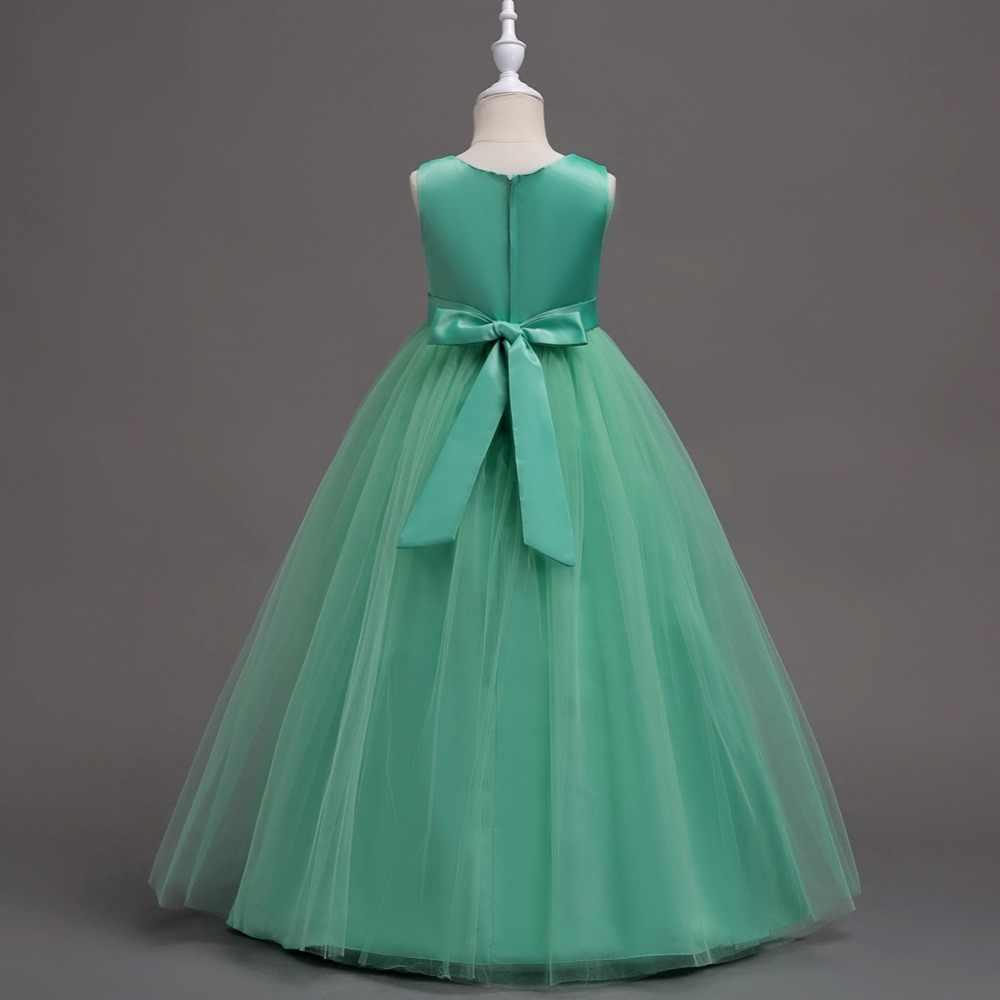 3f752313aa ... Cielarko Teen Girls Formal Dress Wedding Party Long Dresses Children  Birthday Flower Dress Fancy Kids Show ...