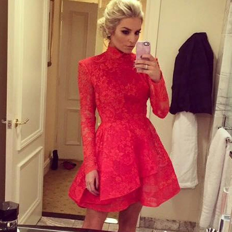 Ballkleider Charming Short Prom Dresses 2016 High Neck Lace Prom Dress A-line Long Sleeve Prom Dresses Custom Made