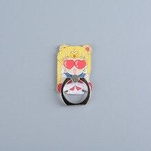 Kotata Anime Sailor Moon figura de cristal anillo de dedo de Metal de 360 grados para iphone ipad Luna gato negro juguetes de soporte para teléfono móvil