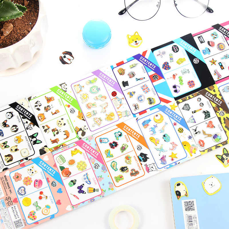 Gato Kawaii Urso Scrapbooking Adesivos Bala Revista Handmade Bonito Unicórnio Panda Adesivo Decorativo Diário Papelaria Japonês