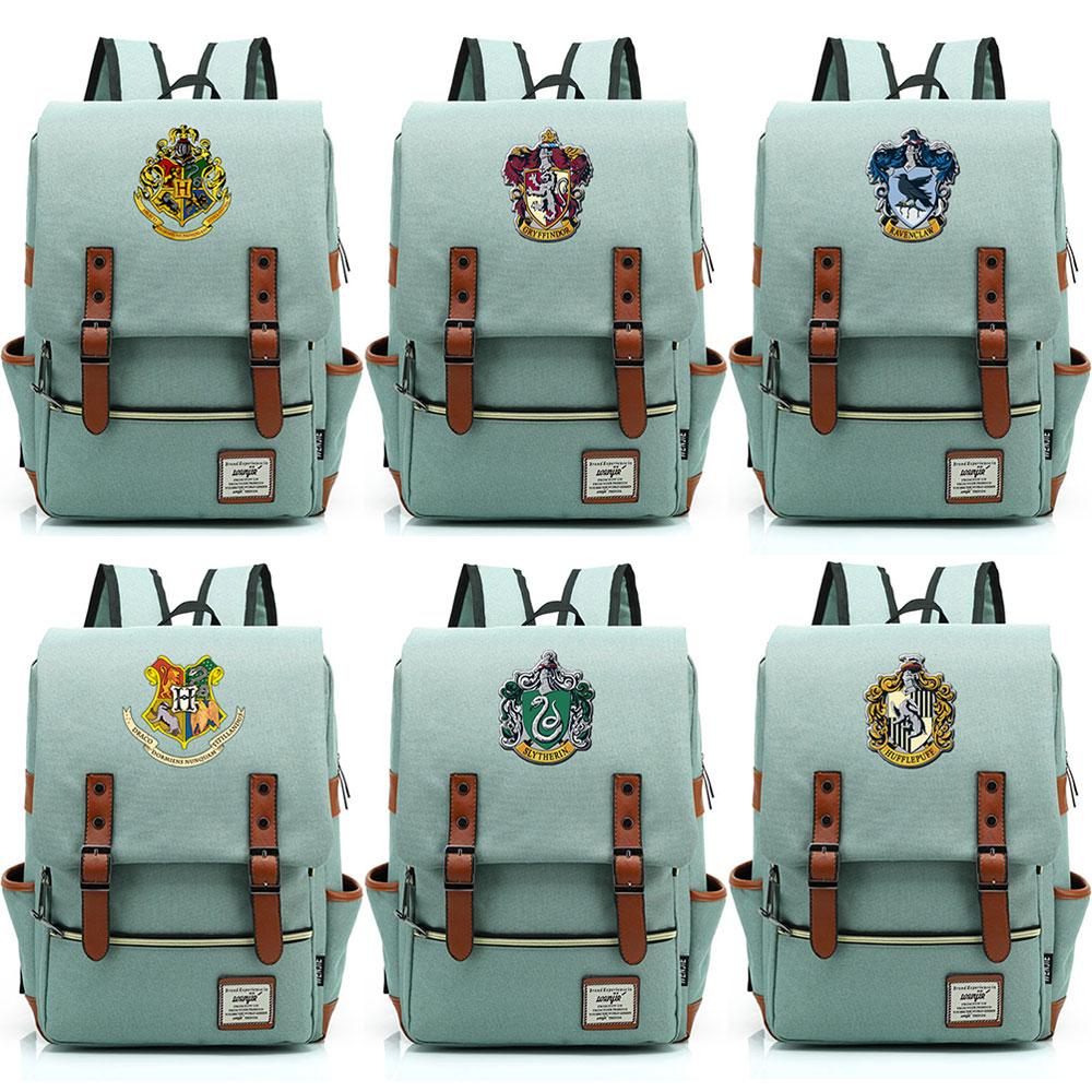 e940efcb1c78 Хогвартс Слизерин Гриффиндор для мальчиков и девочек портфели для подростков  ранцы холст для женщин Bagpack мужчин