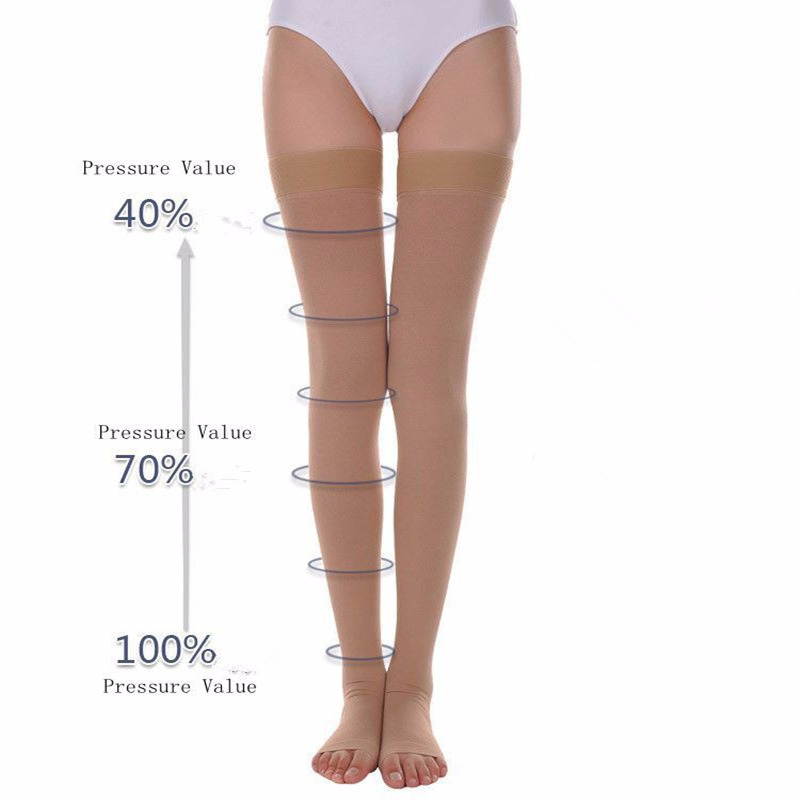 A Pair Compression Stockings Varicose Veins30-40mmHg Pressure Mid-Calf Length Medical Stockings For Varicose Veins