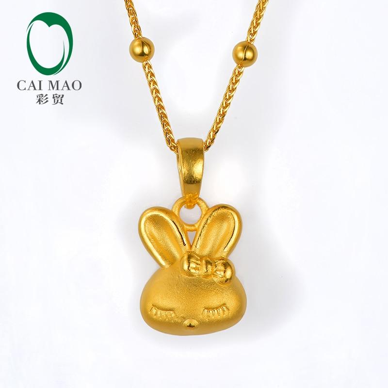 CAIMAO 24 K pur or jaune mignon lapin pendentif réel 999 3d dur or processus bijoux fins cadeau exquis