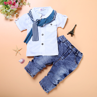 Baby Boy Clothes Casual T Shirt+Scarf+Jeans 3pc Baby Clothing Set Summer Child Kids Costume For Boys New Toddler Boys Clothes