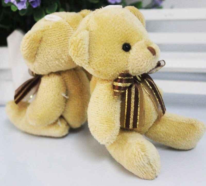 2019 1 pc venda quente adorável mini bonito macio pelúcia recheado mini brown fita urso de pelúcia brinquedos boneca para bouquet novo presente