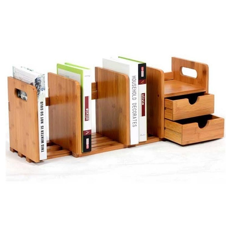 Computer Desk Bookshelf Desktop Small Office Bookcase Student Easy Shelves Children Storage Rack ...
