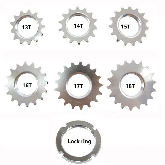 13T/14T/15T/16T/17T/18T Fixed gear cogs,track bike Single Speed Sprocket,Fixed Gear Bike Cogs with lock ring,for 1/8