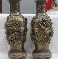 Palácio chinês Cobre Bronze escultura Dois Dragão Paly Talão Garrafa pote Vaso Par 8.02